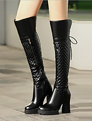 Women's Shoes Leather Winter Combat Boots Boots Casual Chunky Heel Plaid Black