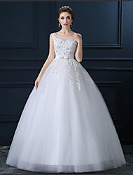 Ball Gown Scoop Floor Length Tulle Wedding Dress with Beading Appliques by LAN TING BRIDE®