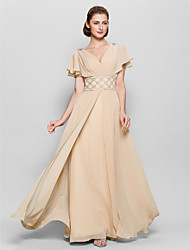 A-line Mother of the Bride Dress Floor-length Short Sleeve Chiffon with Beading / Criss Cross