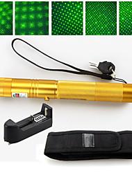 2 em 1 532nm ponteiro laser verde de alta potência 5mw recarregável 18650+ coldre ouro