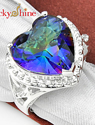 Lucky Shine Sparking 925 Silver Fire Heart Multi-Colored Mystic Topaz Crystal Gemstone Crown Rings For Holiday Gift