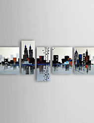 Oil Painting Modern Abstract Buildings Set of 5 Hand Painted Canvas with Stretched Framed