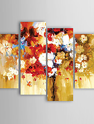 Oil Painting Modern Impression Flowers Set of 4 Hand Painted Canvas with Stretched Framed