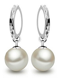 Hoop Earrings Silver Pearl Sterling Silver Silver Jewelry Daily Casual 2pcs