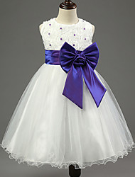 Christmas Girl's Blue / Pink / Purple / Red Dress , Bow Cotton / Polyester Summer / Winter / Spring / Fall
