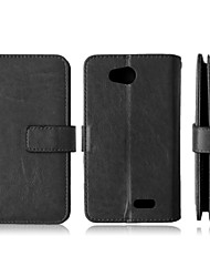 Solid Color Card Stand Leather Case for LG L70