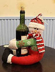 Santa abbraccio pupazzo di neve in bottiglia di vino telo per decorazione tavola partito (1 pezzo)