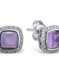 Women's Fashion Sterling Silver set with Amethyst and Diamond  Stud Earrings