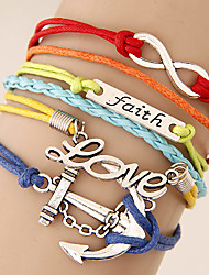 European Style Retro Fashion 8 Infinite Love Anchor Multilayer Woven Bracelet
