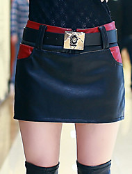 Women Bodycon Thin PU Culottes Skirt , Belt Included / Fleece Lining