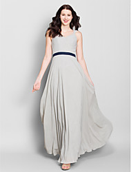 Lanting Bride® Ankle-length Chiffon Bridesmaid Dress - A-line V-neck with Criss Cross