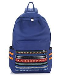 Women Canvas Baguette Backpack - Blue / Green / Black