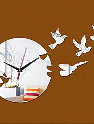 Acrylic DIY 3D Mirror Home Decor Birds Wall Clock Mirror Surface StickerS