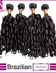 4pcs / lot cabelo virgem brasileiro espiral cabelo virgem não transformados onda brasileira madeixas de cabelo brasileiro