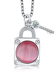 Jazlyn® Platinum Plated 925 Sterling Silver Pink Opal Key To Your Heart Pendant Women's Girl's Kids' Necklace