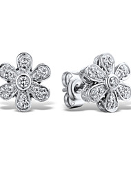 Women's Fashion Sterling Silver set with Cubic Zirconia Flower Shape Earrings