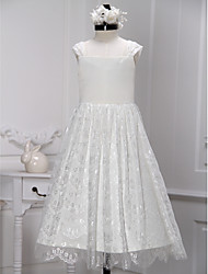 A-line Tea-length Flower Girl Dress - Lace Sleeveless