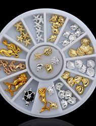 47PCS Ocean Animal Nail Jewelry Decoration Silver and Gloden Metal Material