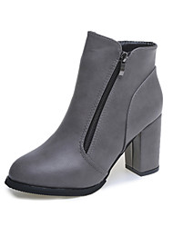 Women's Shoes Upper Fashion European Style Thick Heel Leather Boots Black/Red/Grey