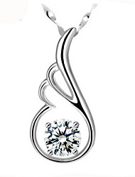 Angel Wings Crystal Sterling Silver Pendant Necklace