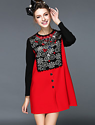 Europe Women Winter Fashion Ethnic Style Bead Pearl Embroidery Bowknot Patchwork Color Temperament Plus Size Short Dress