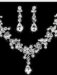 Jewelry Set Earrings Strands Necklaces Fashion Elegant Cubic Zirconia Rhinestone Silver Plated Imitation Diamond Teardrop WhiteNecklaces
