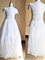 A-line Floor-length Flower Girl Dress/Communion Dress - Satin / Tulle Short Sleeve