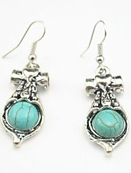 Vintage Look Antique Silver Plated Turquoise Amethyst Tiger Stone Drop Dangle Earring(1Pair)