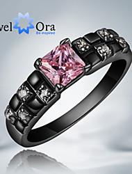 Anéis Fashion Pesta Jóias Zircônia Cubica / Chapeado Dourado Feminino Anéis Grossos 1pç,Tamanho Único Preto / Rosa