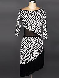 Latin Dance Dresses Women's Performance Spandex Polyester Tassel(s) 1 Piece Dress 90
