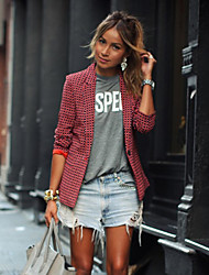 Women's Plaid Red Blazer , Casual / Print Shirt Collar Long Sleeve
