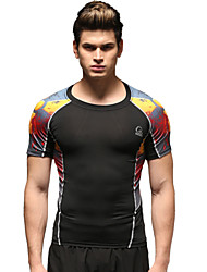 Vansydical® Men's Running Tops Running Breathable Black+Red Sports Wear