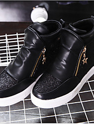 Women's Shoes Leatherette Flat Heel Snow Boots / Round Toe Boots Outdoor / Casual Black / White