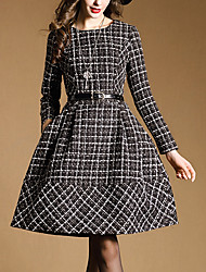 YiBeiEr Women's Plaid Multi-color Dresses , Casual Round Long Sleeve