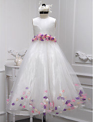 A-line Floor-length Flower Girl Dress - Taffeta Tulle Jewel with Flower(s)