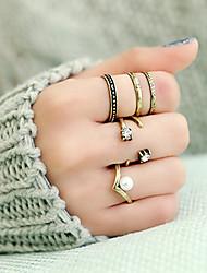 Anéis Pesta / Diário / Casual Jóias Liga Feminino Anéis Meio Dedo 1conjunto,8 Dourado / Prateado