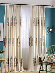 (Two Panels)Colorful Tree Embroidered Linen/Cotton Blend Energy Saving Curtain(Sheer Not Included)