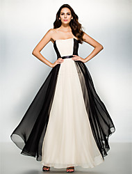 Fiesta formal Vestido - Multicolor Corte A Hasta el Tobillo - Strapless Gasa