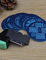 10kpl kynsikoristeet leimaamalla kuvan mallin levyt + 2 kpl nail art leimaamalla tulostin (random väri)