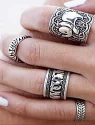 Retro Carved Antique Silver Elephant Anel Totem Leaf Rings for Joint Finger Knuckle Set of 4 Rings