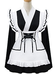 Black and White Polyester Maid Costume Type6