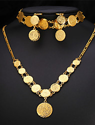 Vogue Vintage Coin Necklace Earrings Bracelet Set Islamic Muslim Ancient Jewelry 18K Gold Plated for Women High Quality