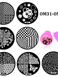 10pcs DIY Polish Beauty Nail Art Image Stamp Stamping Plates 3D Nail Templates Stencils Manicure Tools (OM31-OM40)