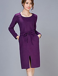 Women's Casual/Daily Dress,Solid Round Neck Knee-length Long Sleeve Purple Wool Fall