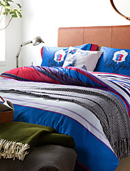Abstract Tree Pattern Broad Blue White Red Stripes Cotton Bedding Set 4-Piece