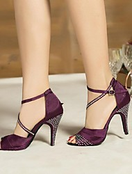 Non Customizable Women's Dance Shoes Latin Satin / Leather Stiletto Heel Blue / Purple