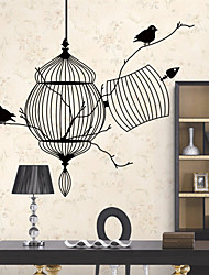 Exquisite Black Flying Birds Cage Wall Sticker Wall Decals with Transfer Film