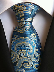 Men Wedding Cocktail Necktie At Work Bleu Flower Pattern Tie