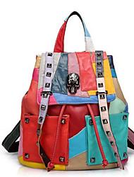 Japan Trend Edition Rivets Casual Leather Shoulder Bag Real Leather Women Hit Color Bag