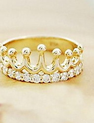 Diamond Crown Pearl Alloy Ring Tail Ring